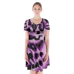 Background Fabric Animal Motifs Lilac Short Sleeve V-neck Flare Dress