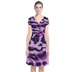 Background Fabric Animal Motifs Lilac Short Sleeve Front Wrap Dress