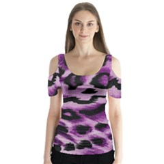 Background Fabric Animal Motifs Lilac Butterfly Sleeve Cutout Tee
