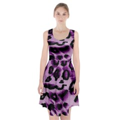 Background Fabric Animal Motifs Lilac Racerback Midi Dress