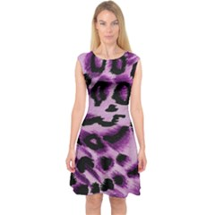 Background Fabric Animal Motifs Lilac Capsleeve Midi Dress