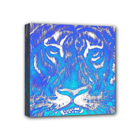 Background Fabric With Tiger Head Pattern Mini Canvas 4  x 4