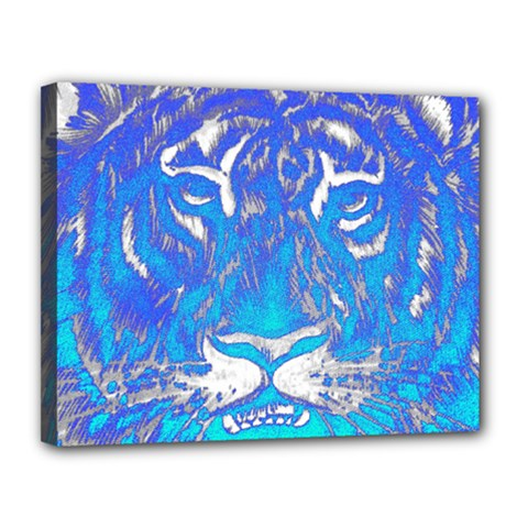 Background Fabric With Tiger Head Pattern Canvas 14  X 11