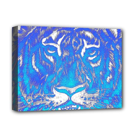 Background Fabric With Tiger Head Pattern Deluxe Canvas 16  X 12