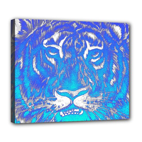 Background Fabric With Tiger Head Pattern Deluxe Canvas 24  X 20