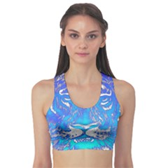Background Fabric With Tiger Head Pattern Sports Bra