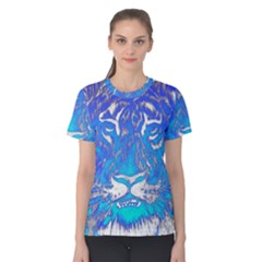 Background Fabric With Tiger Head Pattern Women s Cotton Tee
