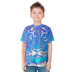Background Fabric With Tiger Head Pattern Kids  Cotton Tee