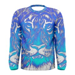 Background Fabric With Tiger Head Pattern Men s Long Sleeve Tee