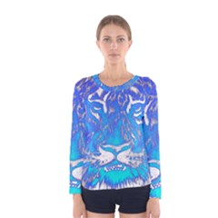 Background Fabric With Tiger Head Pattern Women s Long Sleeve Tee