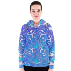 Background Fabric With Tiger Head Pattern Women s Zipper Hoodie