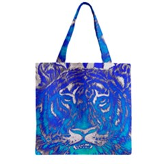 Background Fabric With Tiger Head Pattern Zipper Grocery Tote Bag