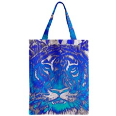 Background Fabric With Tiger Head Pattern Zipper Classic Tote Bag