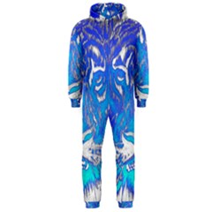 Background Fabric With Tiger Head Pattern Hooded Jumpsuit (men)