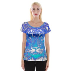 Background Fabric With Tiger Head Pattern Women s Cap Sleeve Top