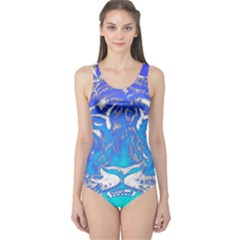 Background Fabric With Tiger Head Pattern One Piece Swimsuit