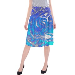 Background Fabric With Tiger Head Pattern Midi Beach Skirt