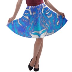 Background Fabric With Tiger Head Pattern A Line Skater Skirt