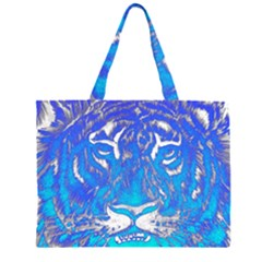 Background Fabric With Tiger Head Pattern Large Tote Bag