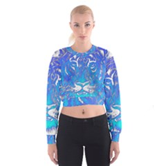 Background Fabric With Tiger Head Pattern Women s Cropped Sweatshirt