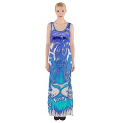 Background Fabric With Tiger Head Pattern Maxi Thigh Split Dress