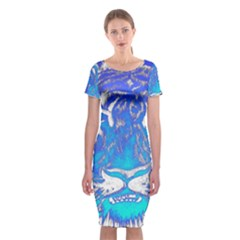 Background Fabric With Tiger Head Pattern Classic Short Sleeve Midi Dress