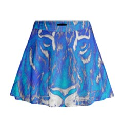 Background Fabric With Tiger Head Pattern Mini Flare Skirt