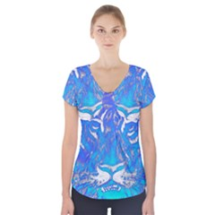 Background Fabric With Tiger Head Pattern Short Sleeve Front Detail Top