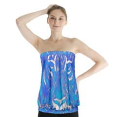 Background Fabric With Tiger Head Pattern Strapless Top