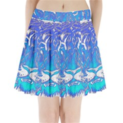 Background Fabric With Tiger Head Pattern Pleated Mini Skirt