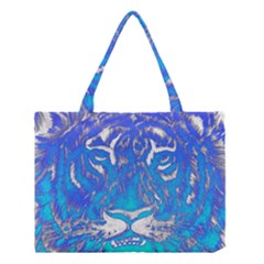 Background Fabric With Tiger Head Pattern Medium Tote Bag