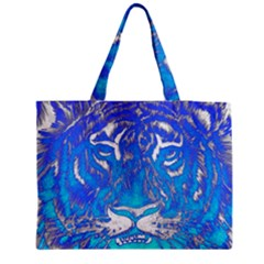 Background Fabric With Tiger Head Pattern Medium Zipper Tote Bag
