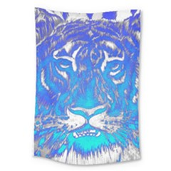 Background Fabric With Tiger Head Pattern Large Tapestry