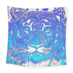 Background Fabric With Tiger Head Pattern Square Tapestry (large)