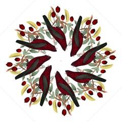 Bird On Branch Illustration Folding Umbrellas