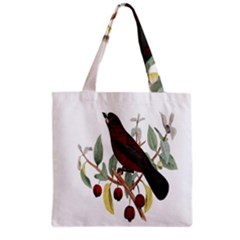 Bird On Branch Illustration Grocery Tote Bag