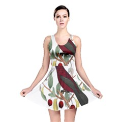 Bird On Branch Illustration Reversible Skater Dress