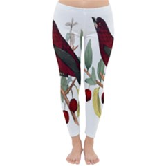 Bird On Branch Illustration Classic Winter Leggings