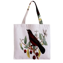 Bird On Branch Illustration Zipper Grocery Tote Bag