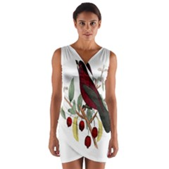 Bird On Branch Illustration Wrap Front Bodycon Dress