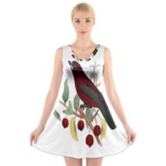 Bird On Branch Illustration V-Neck Sleeveless Skater Dress