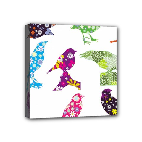 Birds Colorful Floral Funky Mini Canvas 4  X 4