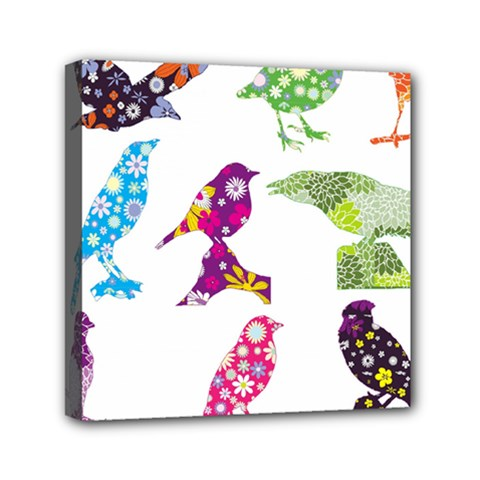 Birds Colorful Floral Funky Mini Canvas 6  X 6