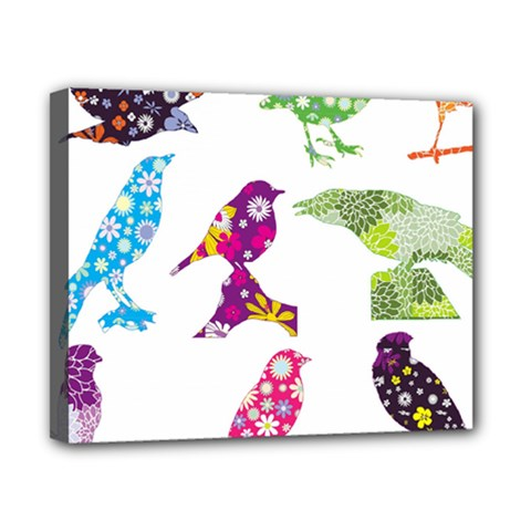 Birds Colorful Floral Funky Canvas 10  X 8