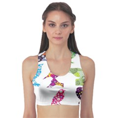 Birds Colorful Floral Funky Sports Bra