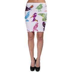 Birds Colorful Floral Funky Bodycon Skirt