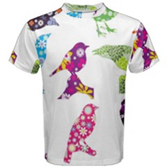 Birds Colorful Floral Funky Men s Cotton Tee