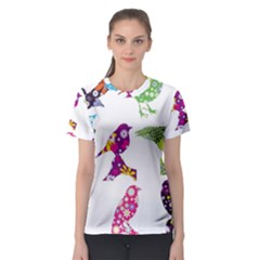 Birds Colorful Floral Funky Women s Sport Mesh Tee