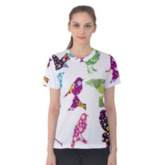 Birds Colorful Floral Funky Women s Cotton Tee