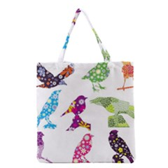 Birds Colorful Floral Funky Grocery Tote Bag